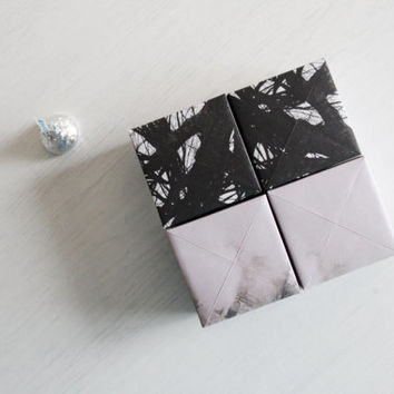 4 origami gift boxes -gray sky dark tree