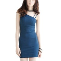 Lady Zip up Back Sleeveless Stretchy Strap Mini Dress