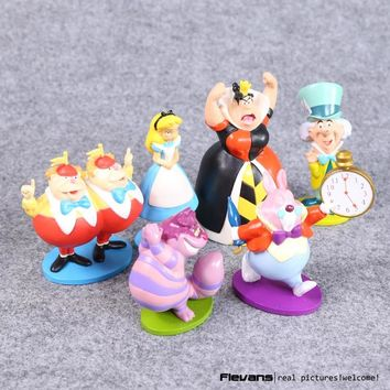 Anime Cartoon Alice in Wonderland PVC Action Figure Toys Dolls 6-9CM 6pcs/set Free Shipping DSFG150