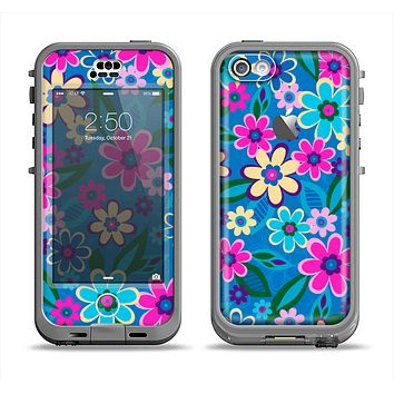 The Bright Pink & Blue Vector Floral Apple iPhone 5c LifeProof Nuud Case Skin Set