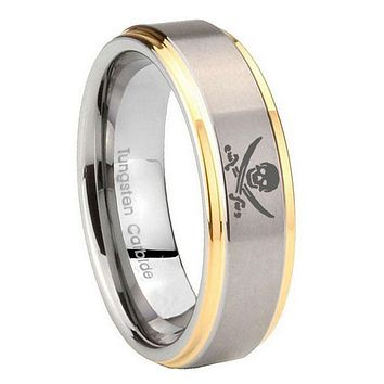 10MM Step Edges Skull Pirate 14K Gold IP Tungsten Two Tone Men's Ring