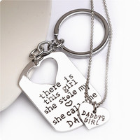 "[On Sale] Best Gift for Dad Father Fathers Day Birthday Present ""Daddy's Girl "" Dad and Daughter Key chain and Necklace Set (2 Pc)   _ 2483"
