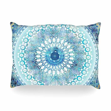"Nina May ""Ornate Boho Mandala"" Blue Teal Mixed Media Oblong Pillow"