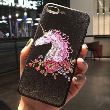 Unicorn Pattern Case for iPhone X 8 7 6S Plus &Gift Box