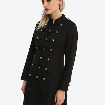 Black Button-Front Military Girls A-Line Jacket