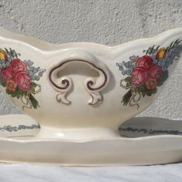 Sarreguemines gravy boat french antique sauce boat Sarreguemines french vintage romantic french french dining french transferware