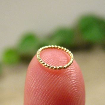 Solid 14k Gold Nose Ring Dotted Twist