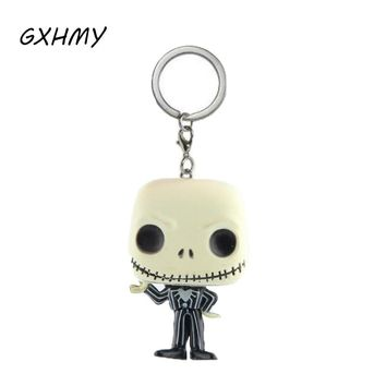 Halloween Town Pumpkin King Jack Skellington Action Figures Children Toy The Nightmare Before Christmas Keychain With Retail Box