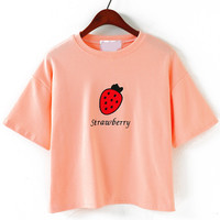 Pink Strawberry Embroidered Short Sleeve Cropped T-Shirt