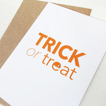 Halloween card Trick or treat orange print monster greeting card gift for kids