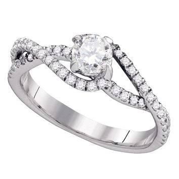 14k White Gold Womens Round Diamond Solitaire Slender Woven Bridal Engagement Ring 3/4 Cttw