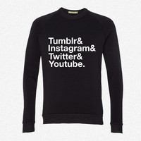Tumblr, Instagram, Twitter, Youtube fleece crewneck sweatshirt