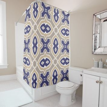 Navy Blue and Taupe Moroccan Shower Curtain