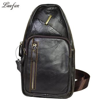 Men's Genuine leather Chest Bag cow leather crossbody bag for iPad Real leather messenger bag designer casual travel bag