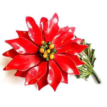 Vintage Enamel Poinsettia Brooch - Enamel Flower Broach - Flower Power Pin - Christmas Jewelry - Holiday Fashion - Christmastime - Red Green