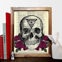 Occult Skull With Roses Vintage Illustration, Eco Friendly Home, Kitchen, Bathroom, Nursery Decor, Dictionary Book Print Buy 2 Get 1 FREE