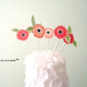 Floral Cupcake Topper. 5 Flowers. Weddings, Birthdays, Anniversaries, Bridal Showers.