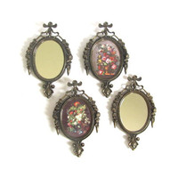 vintage small gold ornate Italian oval frames Set of 4 / Mirrors and Flowers