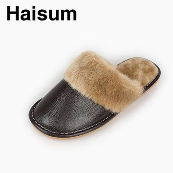 Haisum Men's winter leather leather slippers candy color fashion warm plush waterproof indoor men's slippers N-005