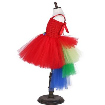 Red Macaw Parrot Tutu Dress Girl Scarlett Macaw Halloween Costume Baby Infant Smash Cake Girls Birthday Bird Outfit