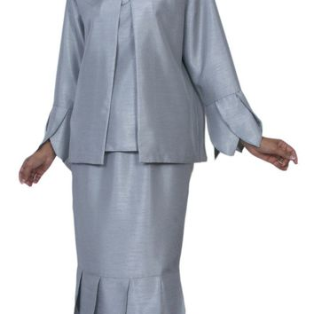 Hosanna 3965 Silver Tea Length 3 Piece Set Plus Size Dress