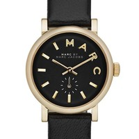 Women's MARC BY MARC JACOBS 'Baker' Round Leather Strap Watch, 28mm - Black/ Gold