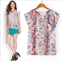 Floral Print Cap-Sleeve Cutout-Back Blouse