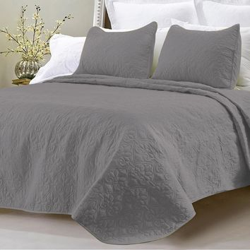 OVERSIZED-3PC QUILTED COVERLET SET- GRAY
