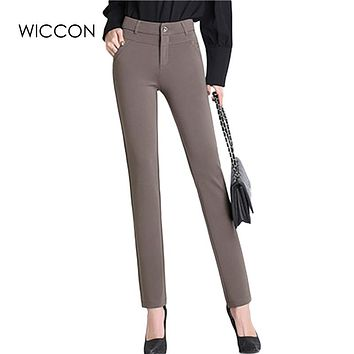 Spring Autumn  pants women office work High stretch cotton ladies pants Thicken female High Waist trousers  WICCON
