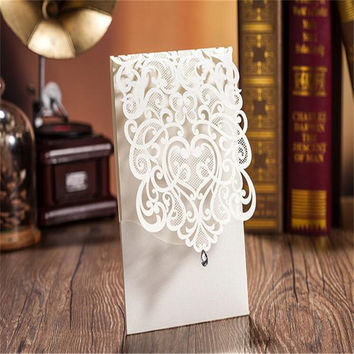 New 10PCS Vertical Party Invitation Card White Elegant Engagement Card With Rhinestone Laser Cut Flower Wedding Invitation Card