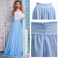 New Summer Full Long Maxi Skirt Pleated Skirts Women's Fashion Casual Skirt