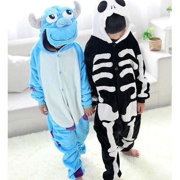 Sulley Human Skeleton Blanket Overalls Jumpsuit Pijama Infantil Kids Children Animal Kigurumi Onesuit Blanket Sleepers Pajamas