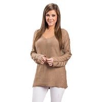 Mocha Knit Sleeve Hollow Out V Neck Loose Sweater