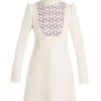 Floral lace-trimmed high-neck crepe dress | Giambattista Valli | MATCHESFASHION.COM UK