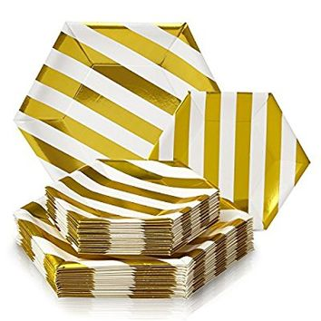 Party Disposable 36 pc Dinnerware Set | 18 Dinner Plates and 18 Side Plates | Heavyweight Paper Plates | Hexagon Design | for Upscale Wedding and Dining (Stripe Collection – White/Gold Stripe