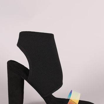 Fitted Ankle Cuff Clear Strap Open Toe Heel