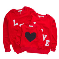 2017 Family Matching Clothes Matching Mother Daughter Clothes Cartoon Heart LOVE Hoodies family look Red Spring T-shirts outfits