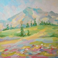Meadow at the Foot Mountain Landscape Oil Painting Wildflower at Sunset Custom Nature Contemporary Art Abstract Realism Wall Decor Gift Idea