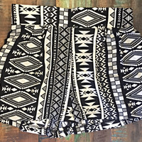 Loose Fit Black & White Aztec Shorts