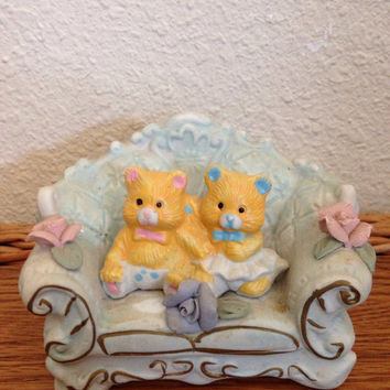 Twin Baby Bears On Sofa Figurine