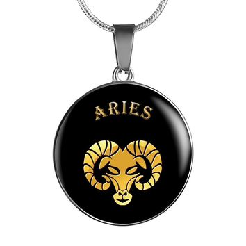 Beautiful Personalized Elegant Black Aries Zodiac Astrology Necklace and Bangle