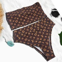 LV Louis Vuitton New Summer Fashion Monogram Personality Swimsuit Strapless Two Piece Bikini
