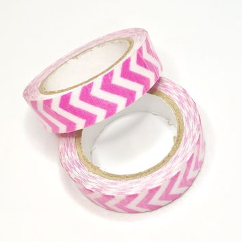 Hot pink chevron 15mm fabric washi tape / 3.5M