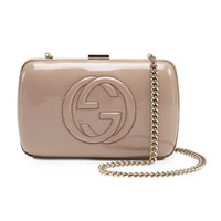 Broadway Patent Leather Minaudiere Clutch, Nude