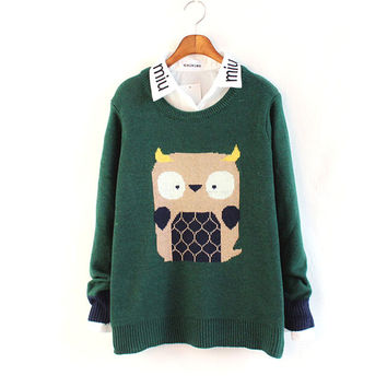 Winter Lovely Owl Long Sleeve Round-neck Knit Sweater [9176488964]