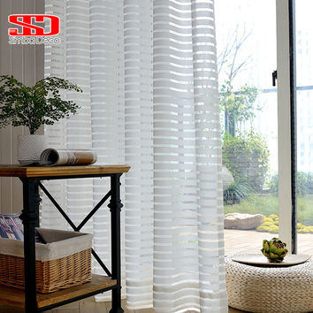 Modern Striped Window Tulle Curtains for Living Room White Voile Sheer Curtains for Bedroom Kids Blinds Elegant Readymade Panels