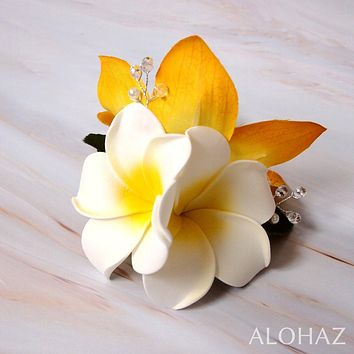 Yellow Paradise Hawaiian Flower Hair Clip