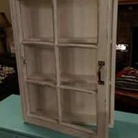beautiful distressed window cabinet, cream window cabinet, window shadow box, shadow box cabinet, medicine cabinet, shabby cabinet w/ glass