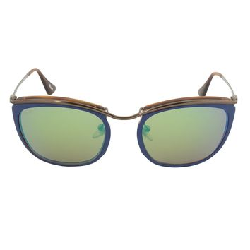 Persol PO3081S 1009/07 Sunglasses | Blue and Matte Havana Frame | Brown Mirror Gold Lens