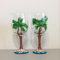 Wine Glasses Set of Two Hand Painted with Palm Trees